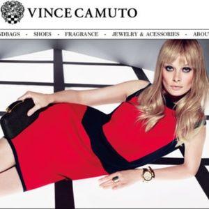 VINCE CAMUTO RED/BLACK COLOR-BLOCK Sheath Dress M